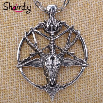 Shamty Inverted Pentagram Goat Head Pendant Necklace Satanism Occult Metal Pendant Free shipping D30020