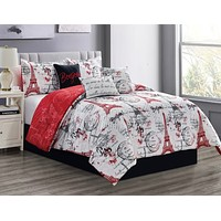 French White & Red Modern Eiffel Tower Bonjour Reversible Comforter - 7 Piece Set