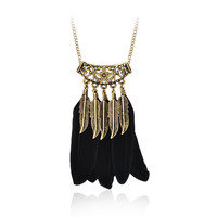 Black Feather Pendant Long Necklace Fashion Jewelry