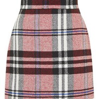 Checked Twill High-Waisted Skirt - Red