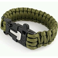 Paracord Tactical Military Survival Bracelet with Flint, Whistle, Scraper (Green or Black)