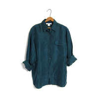 Slouchy 90s Button Up Silk Blouse Dark Green Turquoise Minimalist Shirt Loose Fit Minimal Top Womens Medium