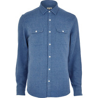 River Island MensLight blue flannel long sleeve shirt