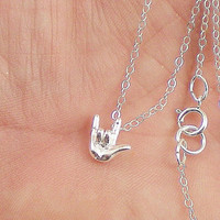 I Love You Sign Language Necklace; Sterling Silver Necklace, Tiny I Love You, Sign Language Message, 3 D Charm