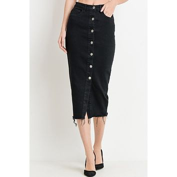 High Waisted Button Down Frayed Ripped Hem Denim Midi Skirt