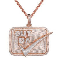 Rose Tone Bling Cut Da Check 3D Custom Designer Pendant