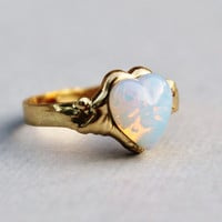 Vintage White Opal Ring, Heart Shaped Pinfire Opal,Opal Jewelry,Gold Adjustable Ring Band,RARE Shape,Birthstone Jewelry,Opal Jewelry