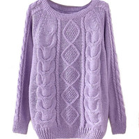Lilac Cable Knit Sweater