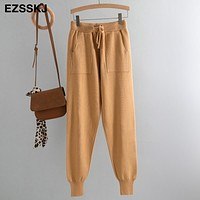 Women Elastic Waist Drawstring Brown Trousers Thick Knitted Harem Pants Autumn Winter Sport swear Women'S Pants New Bottoms