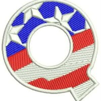 Q Alphabet Letters of US Flag Iron on Small Badge Patch for Biker Vest