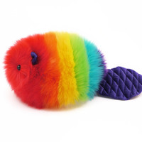 Bow the Rainbow Beaver Stuffed Animal Plush Toy
