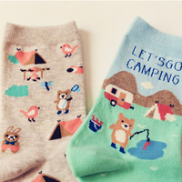"""""""Let's Go Camping"""" Cute Cotton Socks Set (2 pairs)"""