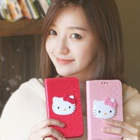Glossy Enamel Hello Kitty 3D Wallet Case for Galaxy Note 3