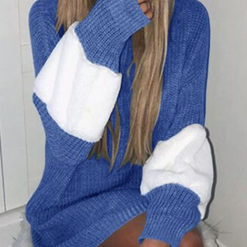 Autumn and winter contrast color pullover sweater long-sleeved velvet sweater