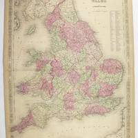 1800s Vintage Map England Wales, United Kingdom Map UK 1867 Johnson Map, Great Britain Map, Unique Office Gift for Him, Gift for Her