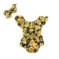 Newborn Baby Girls Flower Romper chrysanthemum Jumpsuit Sunsuit Outfits Set Clothes Baby Clothing