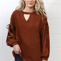 Shimmer + Shine Drawstring Silk Blouse {Rust}