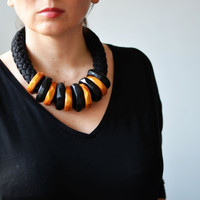 Golden statement necklace/black and gold necklace/black necklace/striped necklace/African necklace/African clothing/chunky gold necklace/big