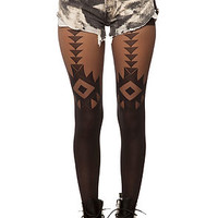 The Geo Print Garter Tights