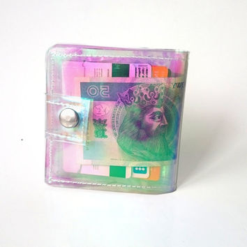 Credit Card holder Clear vinyl wallet money ID holder transparent Purse coin holder card holder clear wallet holographic card  holder