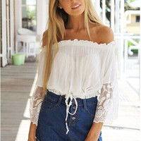 White Chiffon Off Shoulder Flared Lace Sleeve Blouse