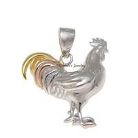 925 Sterling Silver Tricolor Yellow Pink Rhodium Rooster Cock Chicken Pendant