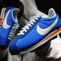 zz kuyou Nike Classic Cortez Men Women Sport Basketball Shoes White Blue36-44