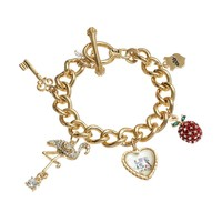 Juicy Couture Key, Flamingo, Heart & Cherry Charm Toggle Bracelet (Yellow)