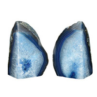 Pair of Blue Geode Book Ends