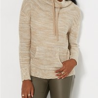 Marled Tan Knit Funnel Sweater