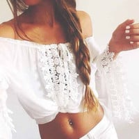 Bohemia Hollow Out Lace Sea Vacation Strapless Chiffon Tops Blouse [4918343044]