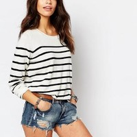 Only   Only Stripe Knit Sweater at ASOS