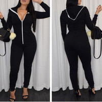 Black V Neck Zippered Jumpsuit
