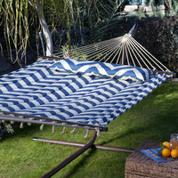 Quilted 13-Ft Hammock with Bronze Metal Stand and Pillow in Blue Harbor Cream