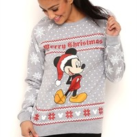 Long Sleeve French Terry Top with Snowflake Mickey Mouse Print