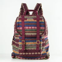 Hippie Backpack Diaper Bag, Student/ Travel/ College/ Teen/ Boho Gypsy (Red trim)