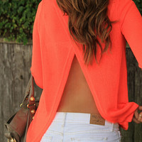 Orange Back Slit Blouse
