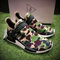 Best Online Sale Bape x Adidas NMD Human Race  Green Camo Boost Sport Running Shoes