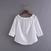 2016 Trending Fashion Women Loose Slim Sports Hoodies Off Shoulder Solid Boat Neckline Sexy Erotic  Shirt Blouse Top _ 9705