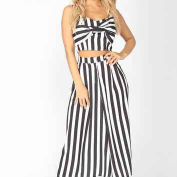 Dem Stripes Matching Set - Black/White