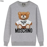 Moschino Tide brand bear print casual wild round neck sweater grey