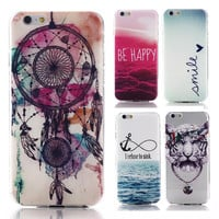 2015 New arrive 15 stylel For Apple iphone 6 case Transparent cell phone cases covers Tower Skull cat Anchor Pattern Housing