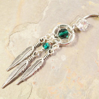 Dream Catcher Belly Button Jewelry Ring Beaded Emerald Green Tribal