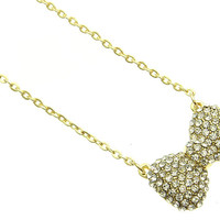 NECKLACE / LINK / METAL CHAIN / CRYSTAL STONE PAVED / RIBBON / BOW / 1/2 INCH DROP / 18 INCH LONG / NICKEL AND LEAD