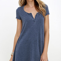 The Tempo Washed Blue Swing Dress