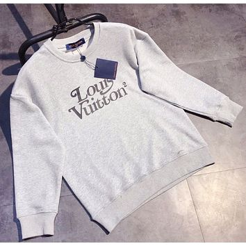 LV Louis Vuitton New fashion letter print pattern couple long sleeve sweater
