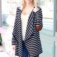 Waterfall Striped Elbow Patch Cardigan {Black+Ivory}