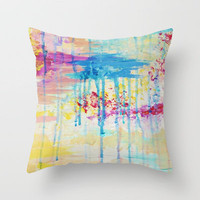 BRIGHTER DAYS - Beautiful Soft Pastel Colours Painting Rain Cloud Sunny Sky Abstract Nature Acrylic Throw Pillow by EbiEmporium