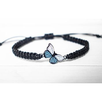 White and Gray Butterfly Bracelet