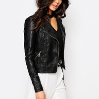 River Island Whipstitch Leather Look Biker Jacket